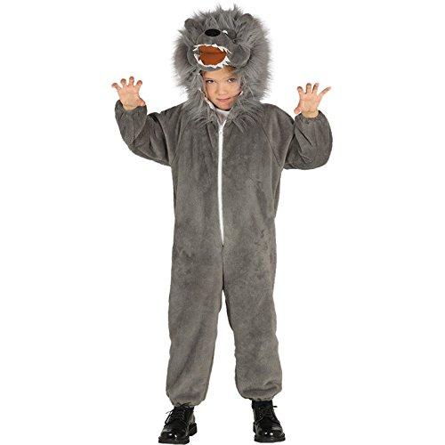 Imagen de disfraz de lobo gris melenudo para niños