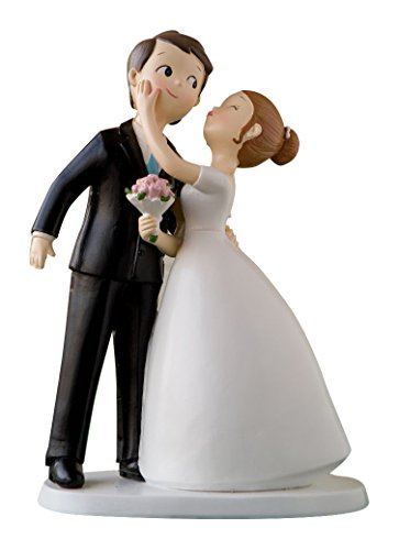 Mopec Y971 - Figure for wedding cake, wedding couple kiss, 21 cm, color white broken