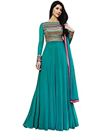Rama Color Georgette Fabric Embroidered Work Semi Stitched Long Anarkali Suit