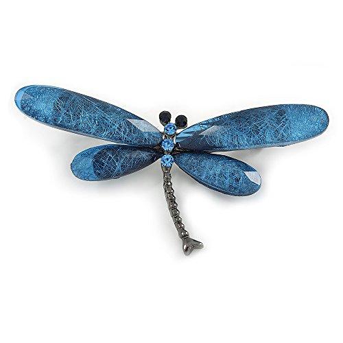 Unbekannt Blau Acryl Brosche Libelle in Gun Metal Finish-70mm über (Dekorierte Kunststoff-taschen)
