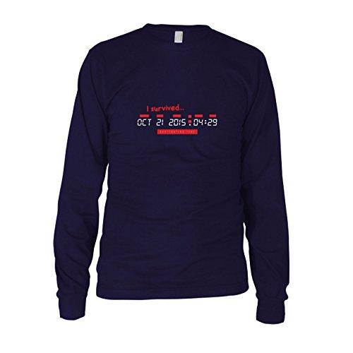 BTTF: I survived Destination Time - Herren Langarm T-Shirt, Größe: XXL, dunkelblau