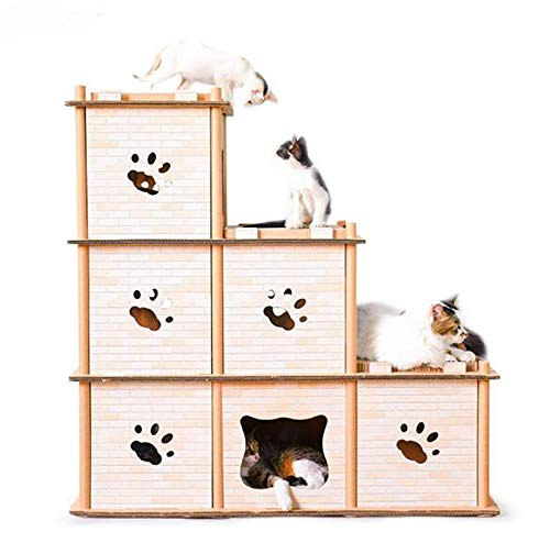 Ahn Kratzbaum-Sisal-Kratzbaum Kitten Furniture Plush Condo Playhouse Mit Dangling Toys Cats Activity Center -
