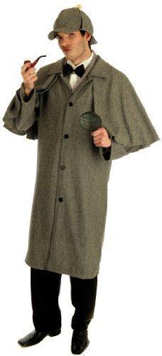 Herren Sherlock Holmes 1920s Viktorianisch Detektive Krimi Party KostüM Kleid Outfit M L XL - grau, X-Large (Viktorianische Kostüme Herren)