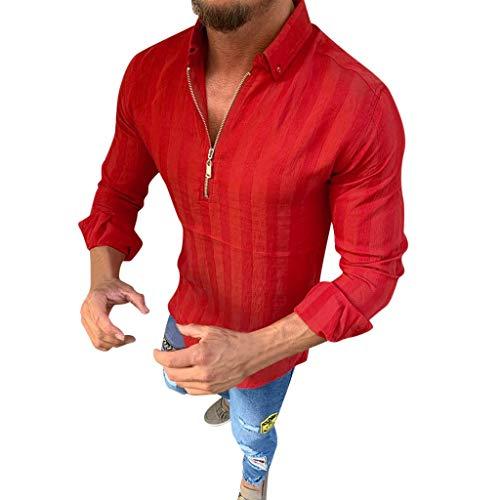 ODRD Herren T Shirts, Oversize Tops Männer Striped Handsome Charm Langarm Zipper Shirts Männlich Casual Business Fit Bluse Slim Top Shortsleeve Basic Shirt