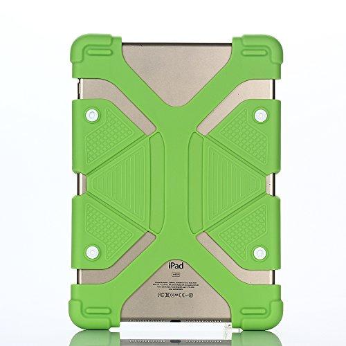 Silikon Ständer Kinder Hülle für Universal 8.9-12 inch Tablet,Aohro Lightweight DropProof Etui Schutzhülle Stoßfest Back Case Cover + Stylus Pen--Grün