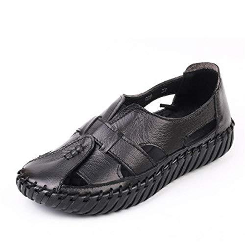 Sandalias De Mujer Zapatos De Playa con Fondo Suave Y Cuero Genuino Retro Ocio Ocio Parte Inferior Gruesa...