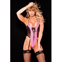 Allure Vinyl and Fishnet Teddy Small/Large, Pink