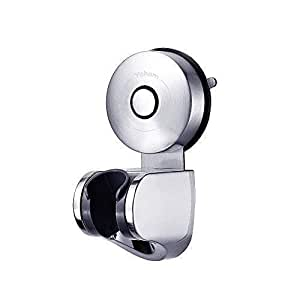 YOHOM 304 Stainless Steel Strong Vacuum Suction Cup Adjustable Handheld Shower Head & Bidet Sprayer Holder,Removable Wall Mounted Bracket Shower Handset Holder for Bathroom Hotel,Brushed Finish