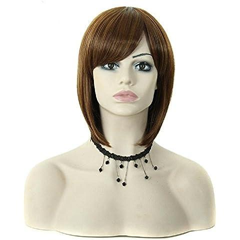 Meydlee Parrucche 1pc donna corta Bobo parrucca in fibra di Kanekalon parrucche dritto sintetici per lato europeo bianco nero parte parrucca