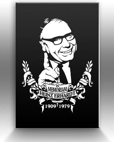 In Memoriam HEINZ ERHARDT limitierter Designer Leinwanddruck, weiss, Größe