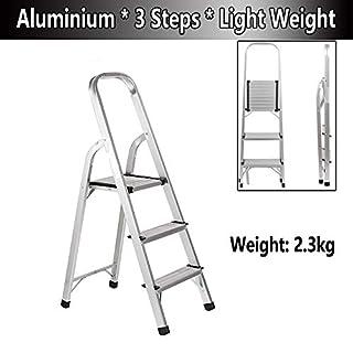 Klappbare Leiter aus Aluminium, 3 Stufen, für Zuhause, Küche, Büro, Lager, leicht 2,3 kg, maximale Tragkraft 150 kg