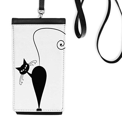 Katze Come Back Halloween-Tier-Kunst Silhouette Kunstleder Smartphone hängende Handtasche Schwarze Phone Wallet Geschenk ()