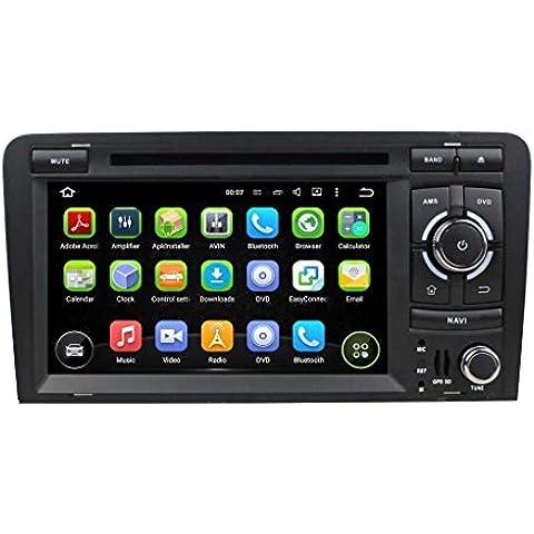 7 pollici Android 5.1.1 Lollipop OS Lettore DVD dell'automobile per Audi A3 2003 2004 2005 2006 2007 2008 2009 2010 2011 2012 2013,TV Digitale(DVB-T MPEG4) Quad Core 1.6G Cortex A9 CPU 16G Flash 1G RAM DDR3 1024x600 GPS Radio Ingresso Aux OBD2 - Costruito Nel Registratore Cd