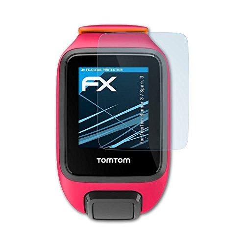 atFoliX Schutzfolie kompatibel mit Tomtom Runner 3 / Spark 3 Folie, ultraklare FX Bildschirmschutzfolie (3X)