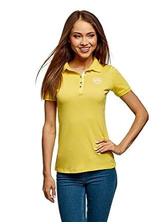 oodji Collection Femme T-Shirt Polo avec Broderie sur la Poitrine et Boutons en Métal, Jaune, FR 36 / XS