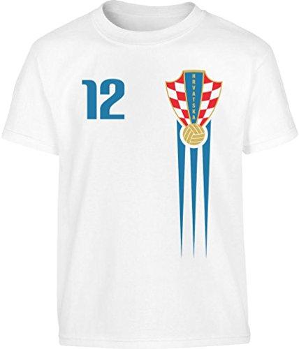 Kroatien Kinder Kleinkinder Fan Trikot WM Kleinkind Kinder Jungen T-Shirt 116/128 (5-7J) Weiß