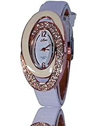 Fusine™ Amni Fashion Double Stone Studded 3D Leather Watch For Women (Oval) Party Wear (White)