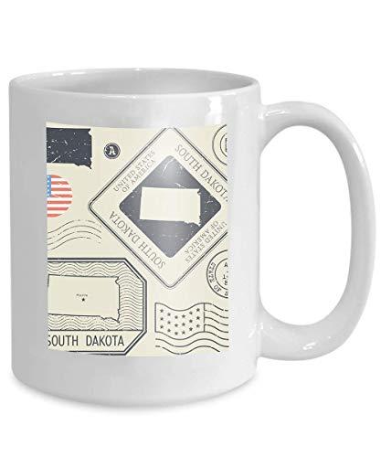 Kaffee-Haferl Tee Cupretro Weinlese-Briefmarken stellten Thema 110z South Dakota Vereinigte Staaten ein - Tee South Dakota