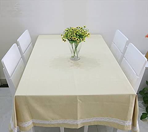Tissu de coton, Nappe rectangulaire nappe Tapis de table Tapis de table ronde chiffon à poussière Western-Style Food Hôtel Pure nappe verte,Beige,140X220CM