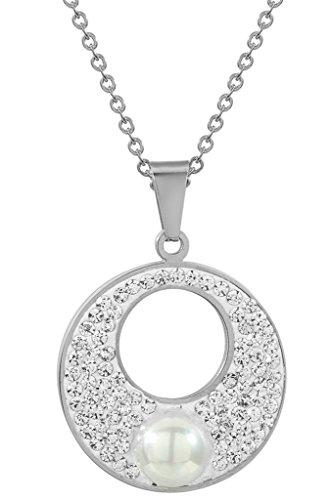 det Schmuck-Sets for Women,Anhänger Halskette &Ohrringe Kreis Weiß CZ Pearl Silber (Karneval-perlen Großhandel)