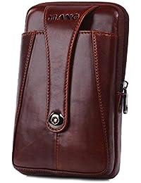 AOLVO Bolso pequeño para cinturón de piel para hombre, diseño de bandolera de viaje, color negro, marrón oscuro, regalo para el día del padre Red Brown