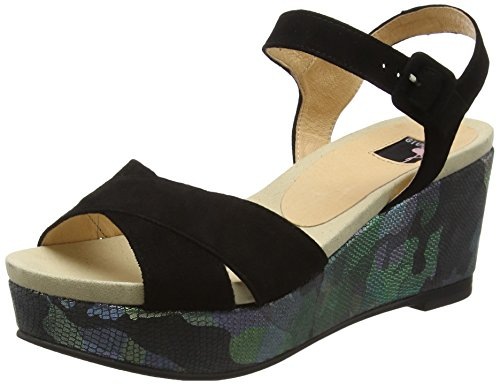 Giudecca Jycx1412-sb30, Wedge sandales ouvertes femme Noir (Black)