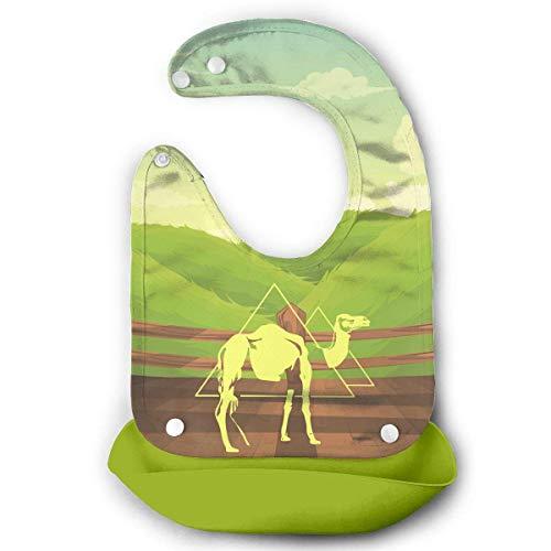 Desert Camel Nights Bavoir étanche en silicone pour bébé avec poche