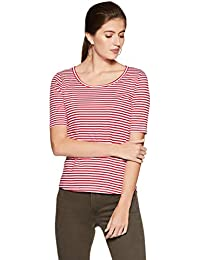 Symbol Amazon Brand Women's Striped Slim Fit T-Shirt
