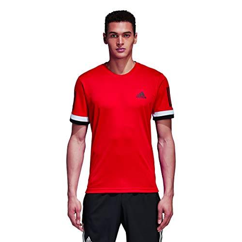 adidas Herren 3-Streifen Club T-Shirt, Scarle, L - Rote Seitliche Streifen-shirt
