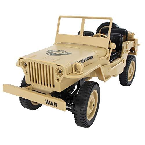 holitie Kinder Ferngesteuertes Auto RC Auto Radio Control mit Wiederaufladbare Akku Spielzeug Auto, JJRC Q65 1/10 2,4G RC Open Car Militärjeep Off-Road 4WD Rock Crawler RTR Spielzeug