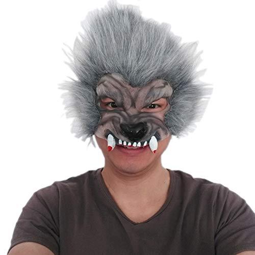 JASNO Deluxe Neuheit Horror Wolf Kopf Maske Latex Tier Maske Für Halloween Maskerade Party Zubehör Spielzeug (Deluxe Wolf Maske)
