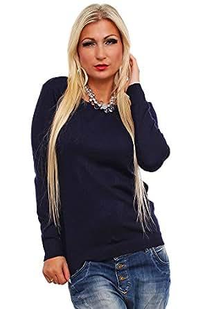 10196 Fashion4Young Damen Langarm-Pullover mit Spitze Pulli verfügbar in 9 Farben Gr. 36/38 (36/38, Dunkelblau)