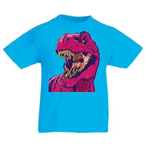 lepni.me T-Shirt pour Enfants Dino (12-13 Years Bleu Clair Multicolore)