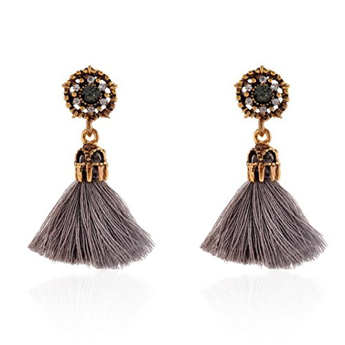 Damen Ohrstecker Retro Style, Ohrringe Elegant ZIYOU Mode Strass Kristall Quaste Baumeln Ohrstecker Modeschmuck (Grau)