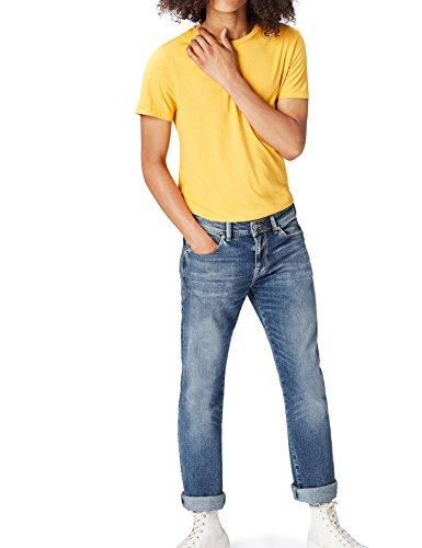 FIND Straight Fit Jeans Herren Stone-Washed, mit Kontrastnähten und 5-Pocket-Design, Blau (Galileo Wash), W32/L32 (Herstellergröße: 32)