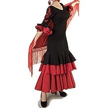 ANUKA Traje de Baile Flamenco para Mujer con Flores en Las Mangas Bordadas. (M