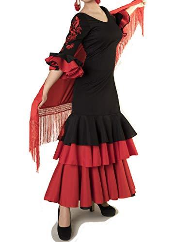 ANUKA Traje de Baile Flamenco para Mujer con Flores en Las Mangas Bordadas. Made IN Spain (Talla XL)