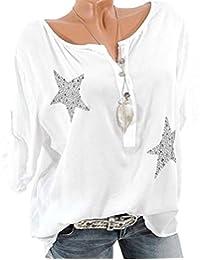 1b09a490a685 Vovtrade T Shirt Damen Bluse T Shirt Sommer Bluse V Ausschnitt Stehkragen  3 4 Ärmel Top Shirt Oberteile Pailletten Glitzer Button 3 4…