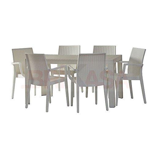 Dimaplast2000 AMZ002 Set Garden Top Tavolo e 6 Poltrone in Resina Effetto Rattan da Giardino, Marrone Scuro, 140x80x72 cm - 2