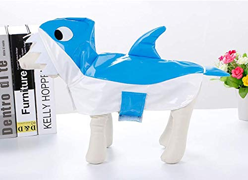 Welpen Niedlichen Kostüm - BRZM KreativeGeschenke der Partei Shark Form Pet Regenmantel Halloween Dressing Mantel Hund Festival Kostüm niedlichen Welpen mit Kapuze Regenkleidung (M)