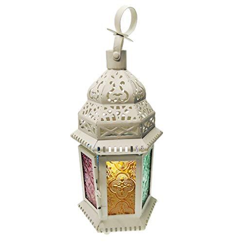 F Fityle Vintage Hängender Windlicht Laterne Kerzenhalter Tischlampe Kerzenlaterne Dekor - Mehrfarbig