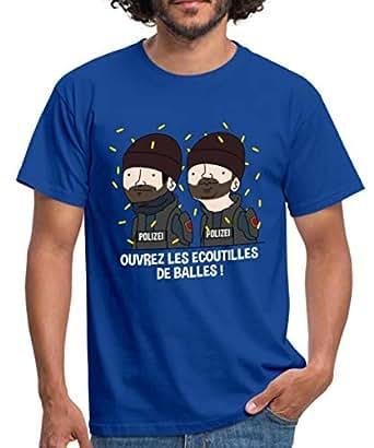 Spreadshirt Wankil Ouvrez Les Écoutilles De Balles T-Shirt Homme, S, Bleu Royal