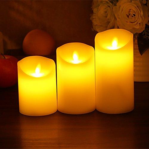Batteriebetriebene Kerzen Mit Beweglicher Flamme.Günstig Gr4tec 3er Set Flammenlose Led Kerzen Echtwachskerze