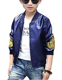 Yonglan Bambino Ragazzo Bomber Giubbino Pu Pelle Slim Cappotto Manica Lunga  Blu 140CM 6e4b987f489