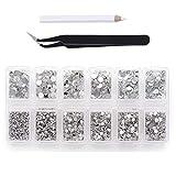 Klare Strasssteine mit flacher Rückseite zum Basteln, 4200 Stück, runde Kristall-Edelsteine, Aufkleber für Kleidung, 1,5-4,8 mm, 6 Größen