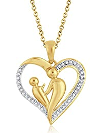 Silvernshine 18K Yellow Gold Over Clear Sim Diamond Accent Mother & Child Heart Pendant Necklace