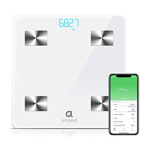 Báscula Grasa Corporal - Bascula de Baño Digital, Arboleaf Escala Bluetooth Inteligente, Balanza Persona de Peso con APP Profesional Analiza 10 Datos Monitor de Composición Corporal para Andriod y iOS
