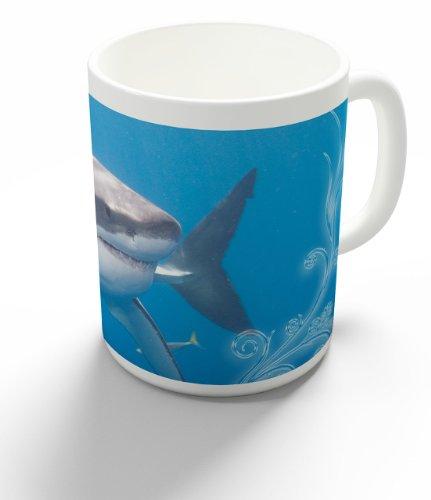 feebecher / Kaffeepott aus Keramik - 330 ml Motiv: Weißer Hai schwimmend unter Wasser ( 02 ) (Schwimmende Hai)