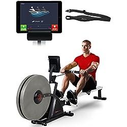 Sportstech RSX600 Máquina de Remo Profesional; Freno magnético y de Aire; Smartphone App Control; 12 programas; 16 Niveles Resistencia; Pulsómetro de Pecho por Valor de 39,90€ Incluido (RSX600)