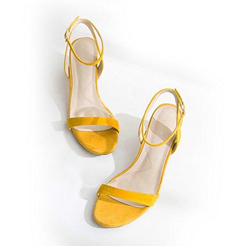 Xy & GK die Kleidung Sommer-Sandale Schnalle Wort all-match Ferse Sandale Leder in Rom, bequem und schön 37 yellow